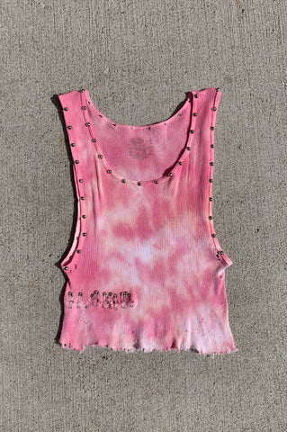 Punk Rock Lies Day Tripper Studded & Safety Pin Crop Tank in Pink Tie Dye - One More Chance Vintage