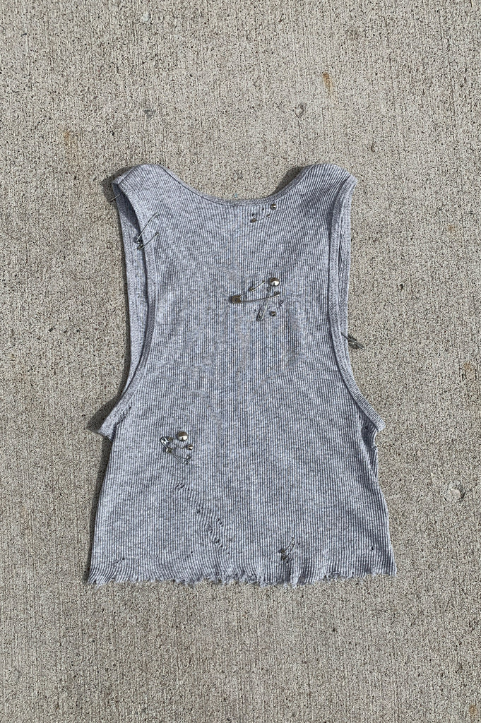 Punk Rock Lies Punk Paint Splattered Distressed Cut Off Tank 201 in Gray in Small - One More Chance Vintage