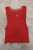 Punk Rock Lies Cutoff Pinned & Studded Crop Tank Top 028 in Red - One More Chance Vintage