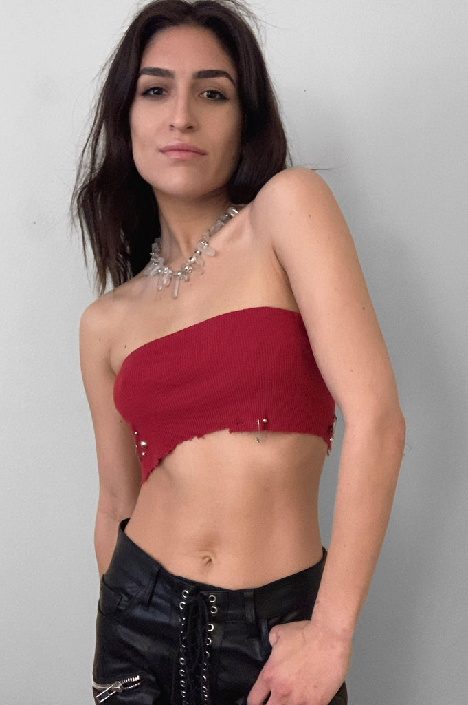 Punk Rock Lies Studded & Pinned Cut Off Crop Tube Top Tank 092 in Red - Small - One More Chance Vintage