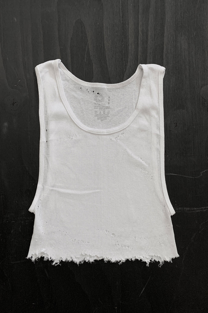 Punk Rock Lies Distressed Cut Off Crop Tank Top 126 in White - Medium