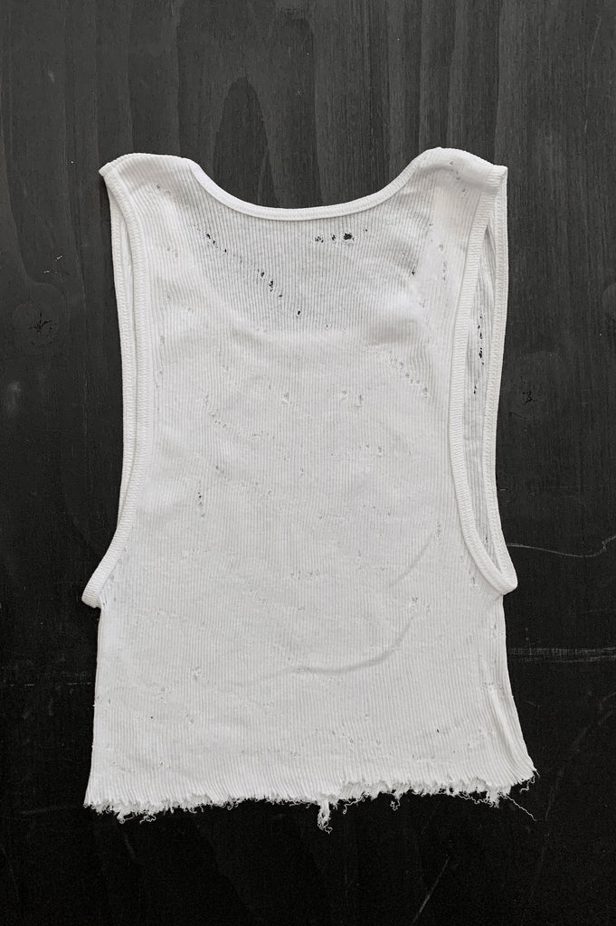 Punk Rock Lies Distressed Cut Off Crop Tank Top 127 in White - Medium - One More Chance Vintage