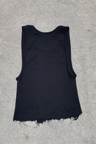 Punk Rock Lies Distressed Cut Off Crop Tank Top 134 in Black - Medium - One More Chance Vintage