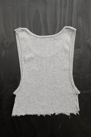 Punk Rock Lies Distressed Cut Off Crop Tank Top 138 in Gray - Medium - One More Chance Vintage