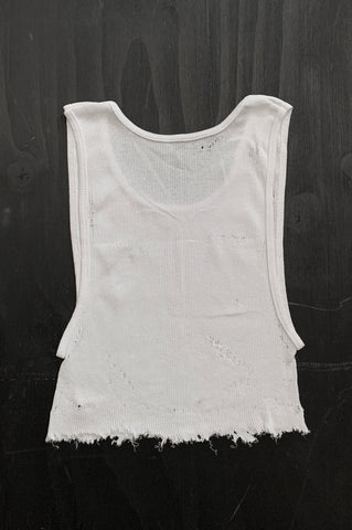 Punk Rock Lies Distressed Cut Off Crop Tank Top 125 in White - Medium - One More Chance Vintage