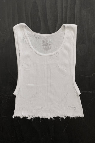 Punk Rock Lies Distressed Cut Off Crop Tank Top 108 in White - Large