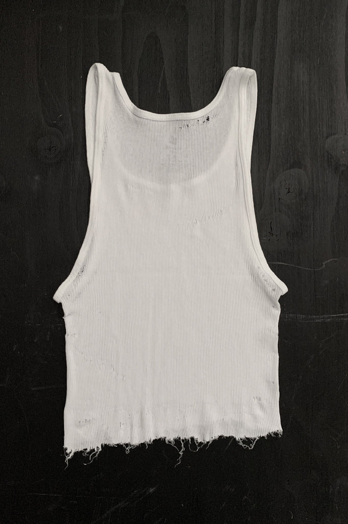 Punk Rock Lies Distressed Cut Off Crop Tank Top 106 in White - Large - One More Chance Vintage