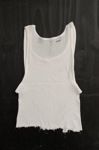 Punk Rock Lies Distressed Cut Off Crop Tank Top 107 in White - Large - One More Chance Vintage