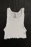 Punk Rock Lies Distressed Cut Off Crop Tank Top 108 in White - Large - One More Chance Vintage