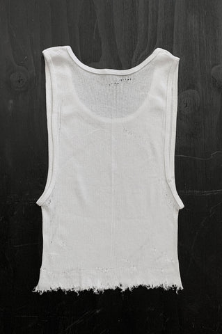 Punk Rock Lies Distressed Cut Off Crop Tank Top 128 in White - Medium - One More Chance Vintage