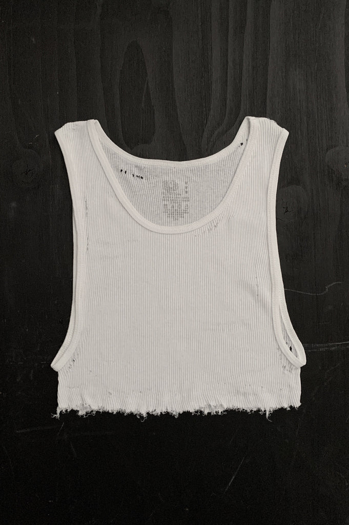 Punk Rock Lies Distressed Cut Off Underboob Crop Tank Top 103 in White - Medium - One More Chance Vintage