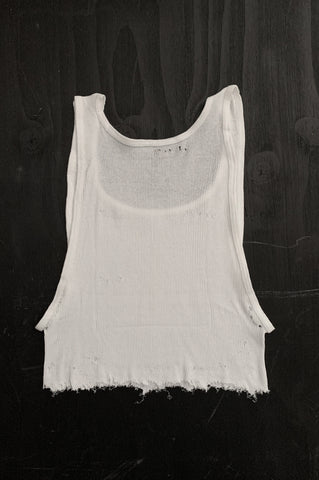 Punk Rock Lies Distressed Cut Off Crop Tank Top 104 in White - Large - One More Chance Vintage