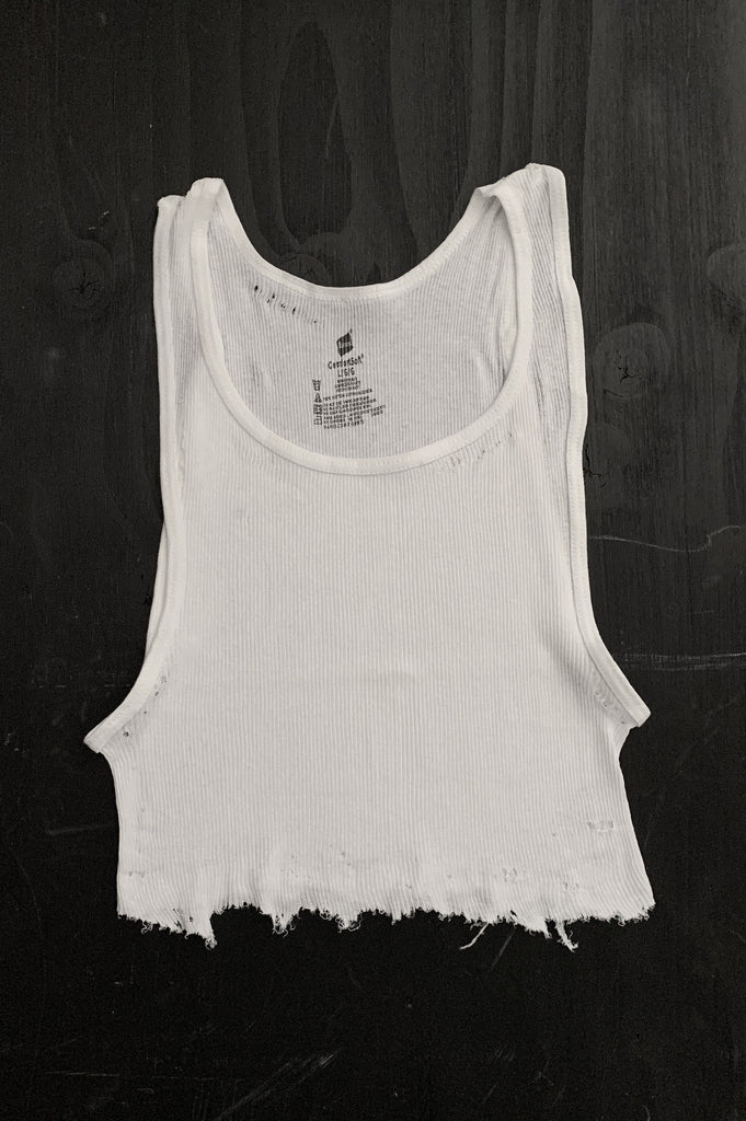 Punk Rock Lies Distressed Cut Off Crop Tank Top 105 in White - Large - One More Chance Vintage