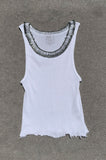 Punk Rock Lies Distressed Cut Off Safety Pin Neck Tank Top 122 in White - Small - One More Chance Vintage