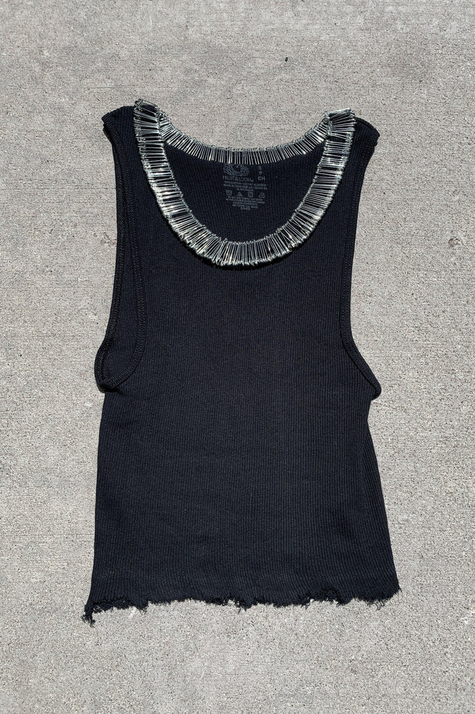 Punk Rock Lies Distressed Cut Off Safety Pin Neck Tank Top 131 in Black - Small - One More Chance Vintage