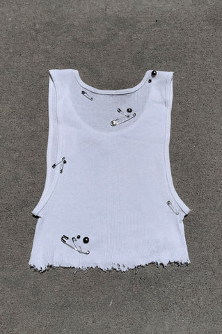 Punk Rock Lies Cut Off Underboob Safety Pin & Studded Crop Tank Top 118 in White - Small - One More Chance Vintage