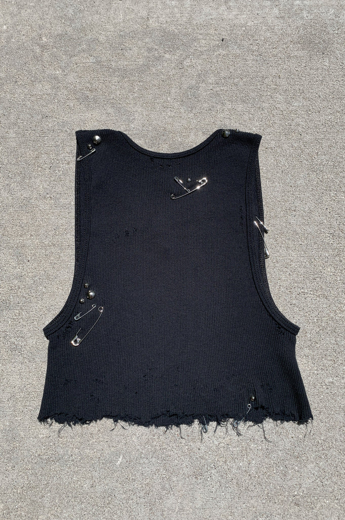 Punk Rock Lies Distressed Cut Off Safety Pin & Studded Crop Tank Top 136 in Black - Medium - One More Chance Vintage