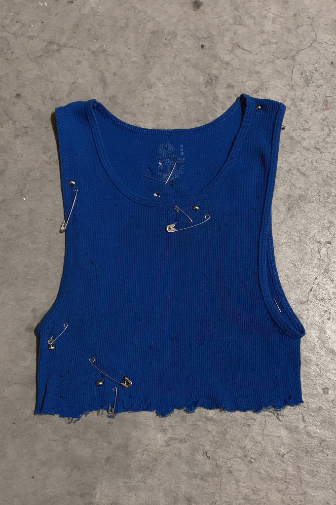 PRL JETT Underboob Safety Pin & Studded Crop Tank Top in Blue Splatter - Available in Small, Medium & Large - One More Chance Vintage