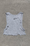 Punk Rock Lies Distressed Cut Off Underboob Safety Pin Crop Tank Top 132 in Gray - Small - One More Chance Vintage