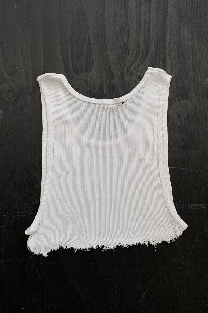 Punk Rock Lies Distressed Cut Off Underboob Crop Tank Top 123 in White - Medium - One More Chance Vintage