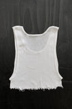 Punk Rock Lies Distressed Cut Off Underboob Crop Tank Top 117 in White - Small - One More Chance Vintage