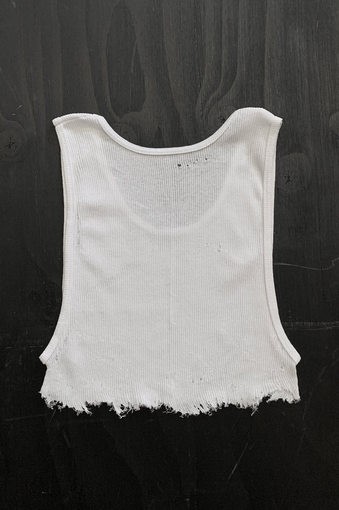 Punk Rock Lies Distressed Cut Off Underboob Crop Tank Top 124 in White - Medium - One More Chance Vintage