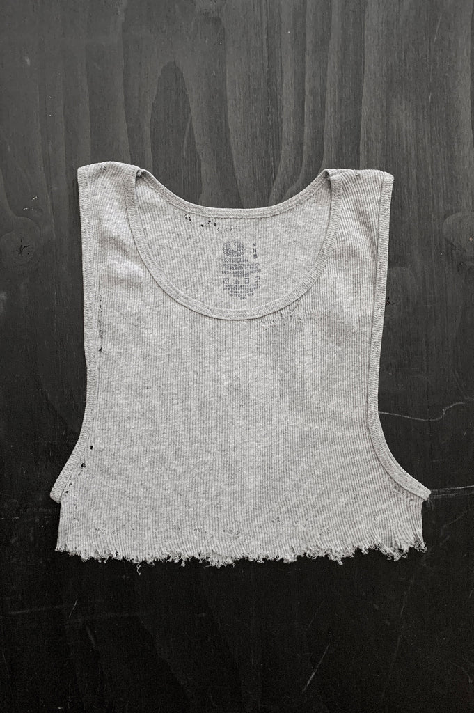 Punk Rock Lies Distressed Cut Off Underboob Crop Tank Top 137 in Gray - Medium - One More Chance Vintage