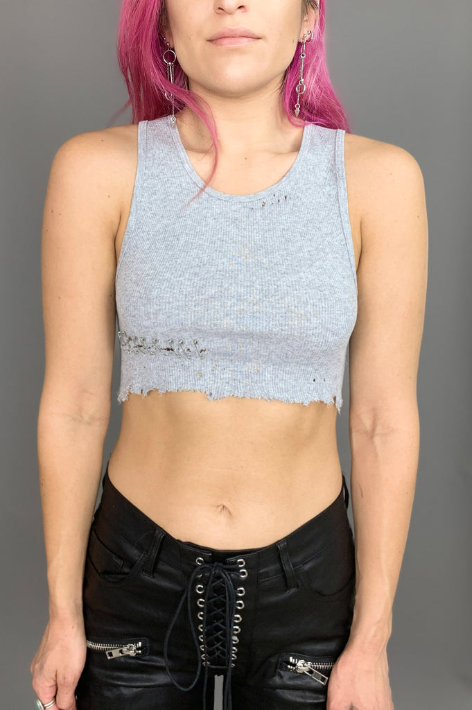 Punk Rock Lies Pin It Safety Pin Distressed Cut Off Crop Tank Top in Gray - One More Chance Vintage