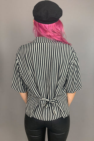 Punk Rock Lies Seein' Double Studded Striped Blouse - One More Chance Vintage