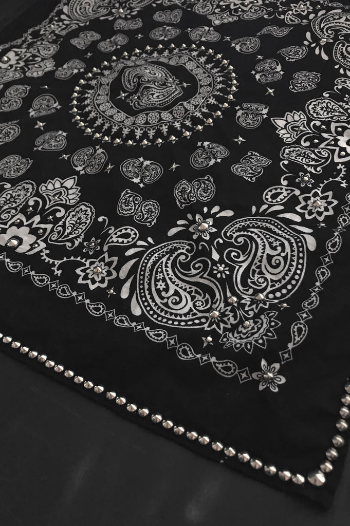 One More Chance Vintage - Punk Rock Lies Studded Paisley Bandana Neckerchief in Black