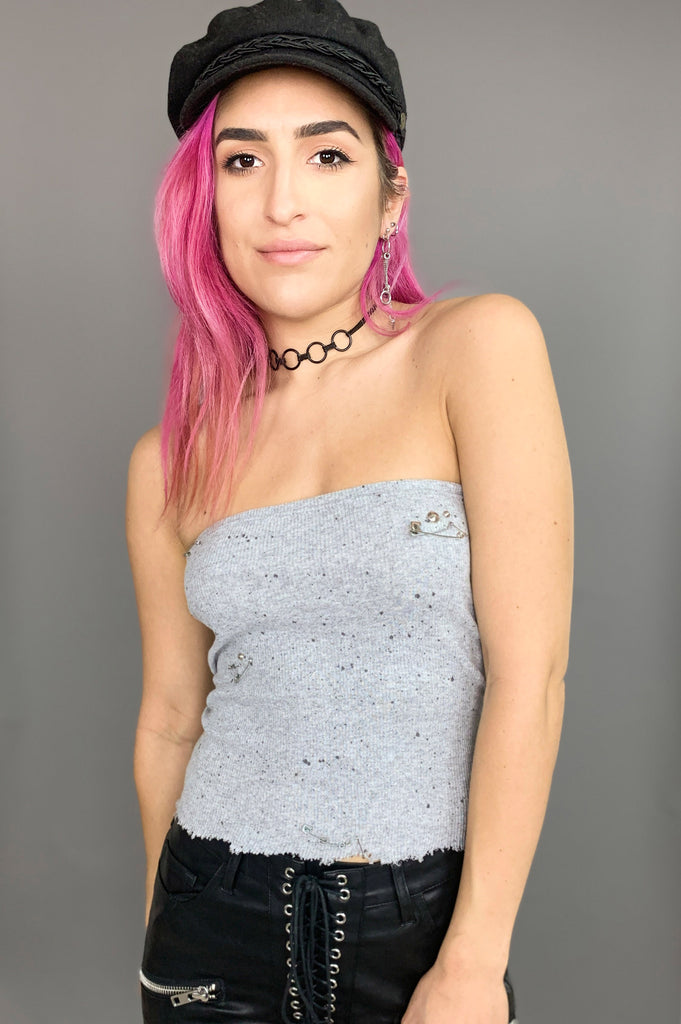 Punk Rock Lies Studded & Safety Pin Splattered Paint Tube Top Tank 148 in Gray in Small - One More Chance Vintage
