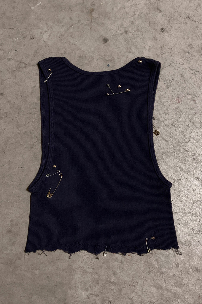 PRL IGGY Safety Pin & Studded Crop Tank Top in Dark Blue - Available in Small, Medium & Large - One More Chance Vintage
