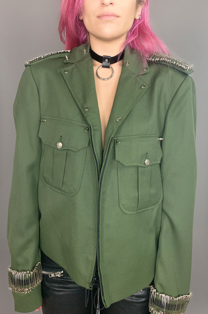 Punk Rock Lies The Trooper Studded Safety Pin Chained Jacket - One More Chance Vintage