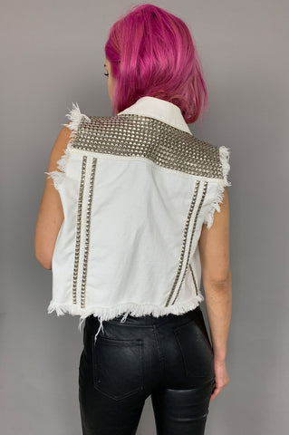 Punk Rock Lies Heavy Metal Studded Denim Vest - One More Chance Vintage