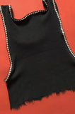 Punk Rock Lies Cut Off Studded Distressed Crop Tank 027 in Black - One More Chance Vintage