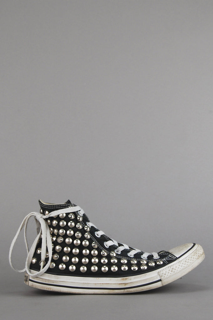 One More Chance Vintage - Punk Rock Lies Vintage Distressed Studded Converse Chuck Taylor All Star High Top Sneakers