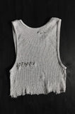 Punk Rock Lies Cutoff Pinned & Distressed Crop Tank 024 in Gray - One More Chance Vintage