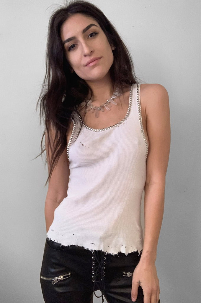 Punk Rock Lies Cut Off Studded Trim Distressed Tank Top 098 in White - Medium - One More Chance Vintage
