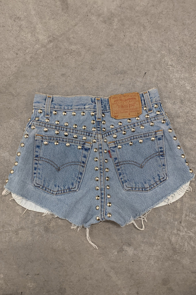 Punk Rock Lies Levis Strauss Distressed Studded Denim Cut Off Shorts - One More Chance Vintage