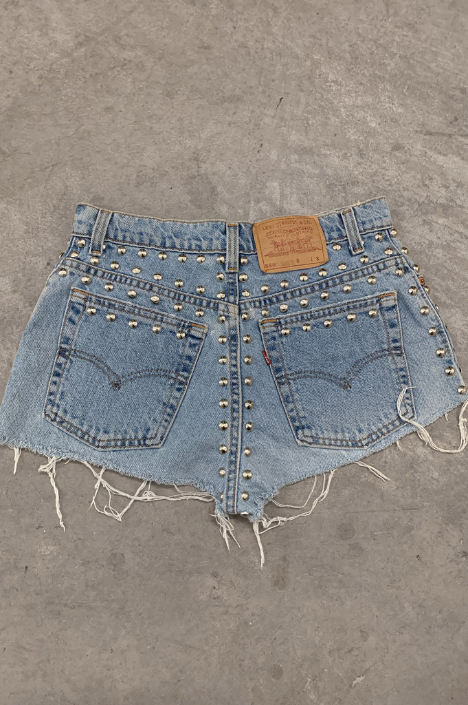 Punk Rock Lies Vintage Levi Strauss Distressed Studded Denim Cut Off Shorts - One More Chance Vintage