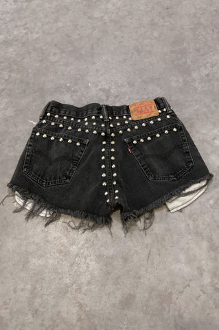 Punk Rock Lies Vintage Levis Cut Off Studded Denim Shorts in Black in Size 29 - One More Chance Vintage