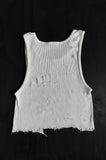 Punk Rock Lies Cutoff Distressed Crop Tank 018 in White - One More Chance Vintage