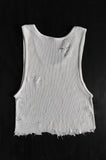 Punk Rock Lies Cutoff Distressed Crop Tank 019 in White - One More Chance Vintage