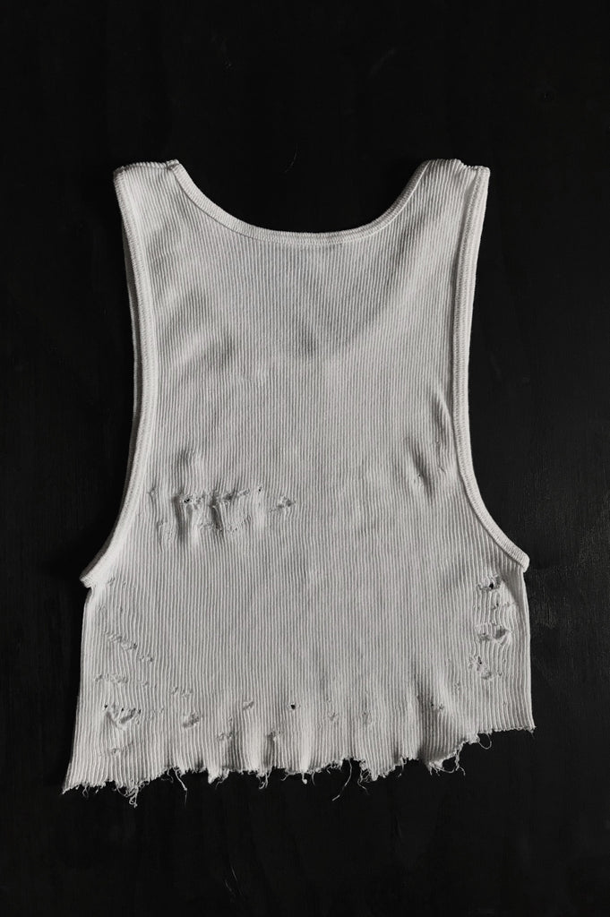 Punk Rock Lies Cutoff Distressed Crop Tank 020 in White - One More Chance Vintage