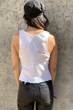 Punk Rock Lies Cutoff Distressed Tank 015 - White