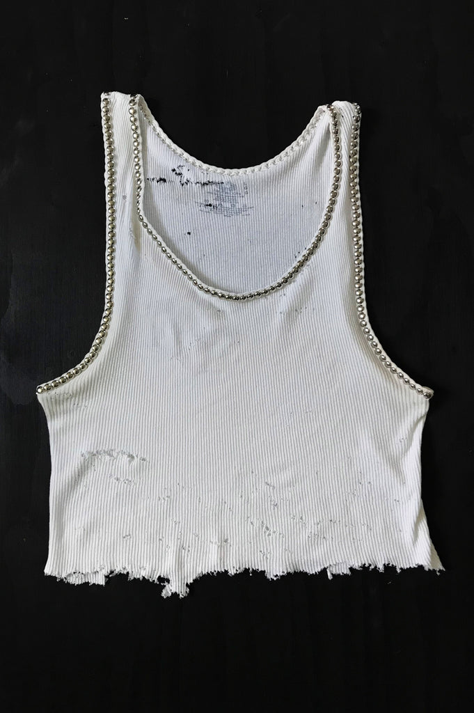 Punk Rock Lies Vintage White Cut Off Studded Distressed Tank 012 - One More Chance Vintage