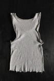 Punk Rock Lies Cutoff Studded Distressed Tank 017 in Gray - One More Chance Vintage
