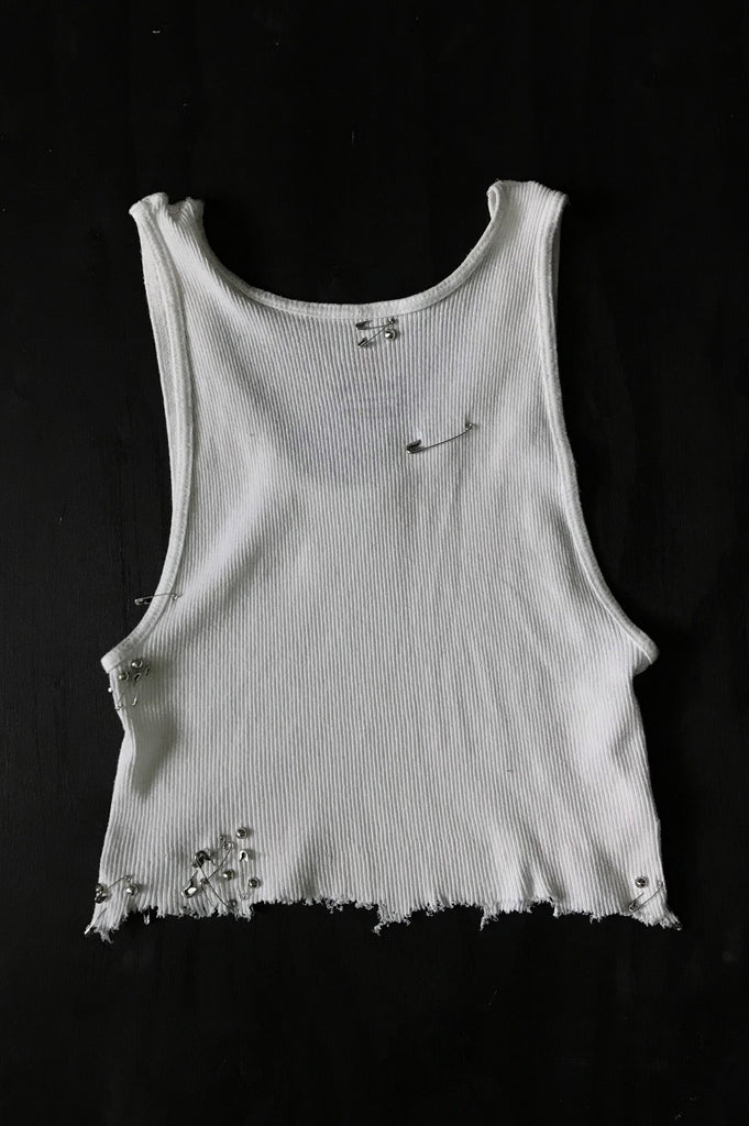 Punk Rock Lies Vintage White Cut Off Studded Pinned Distressed Worn Crop Tank Top 014