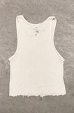 Punk Rock Lies Hanes Cutoff Distressed Tank Top 042 in White - One More Chance Vintage