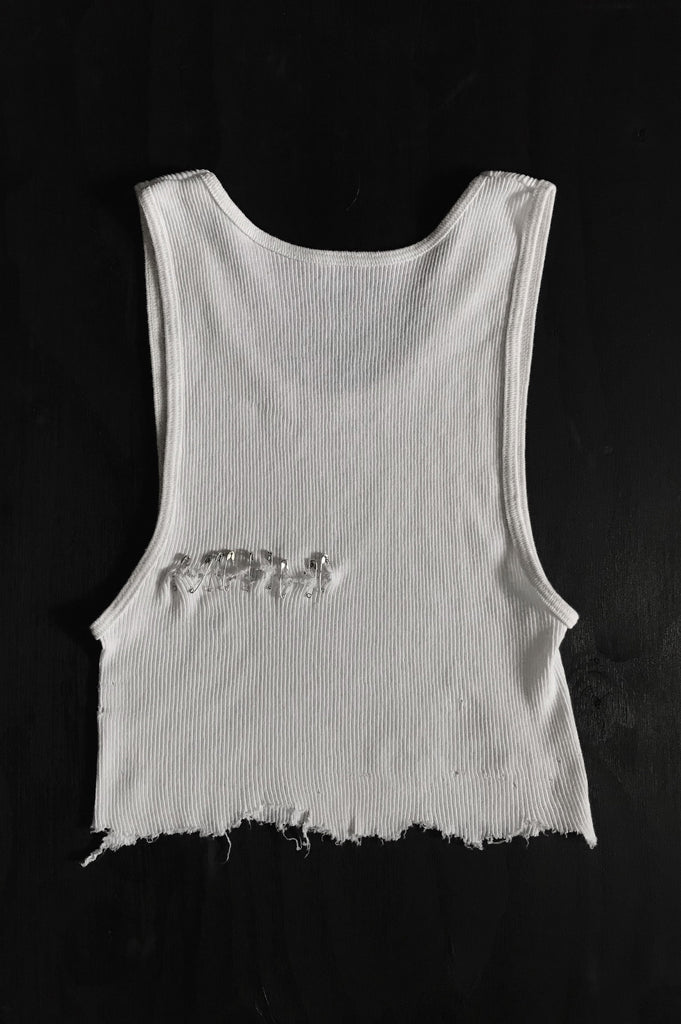 Punk Rock Lies Cutoff Pinned & Distressed Crop Tank 023 in White - One More Chance Vintage
